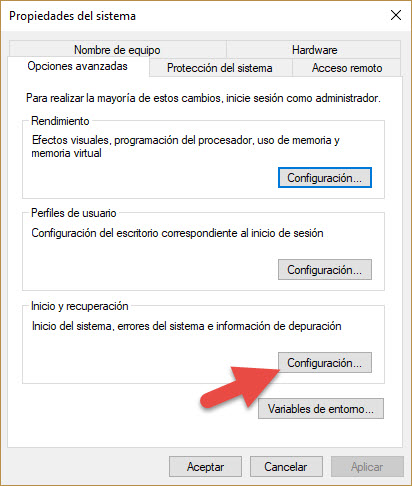 Activar volcado de memoria Windows 2
