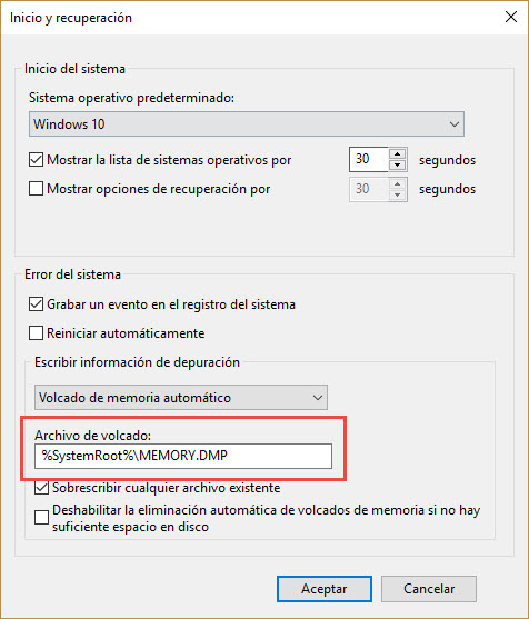 Activar volcado de memoria Windows 3