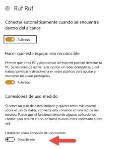 Conexiones de uso medido Windows 10 3