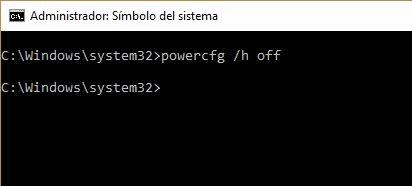 desactivar hibernación Windows 2