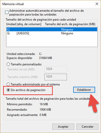 Desactivar memoria virtual Windows 10