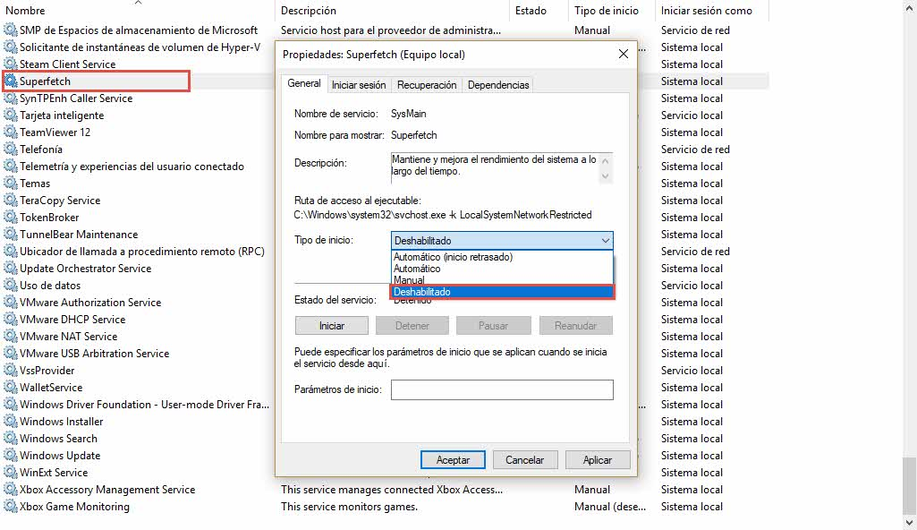 Desactivar Superfetch Windows 10