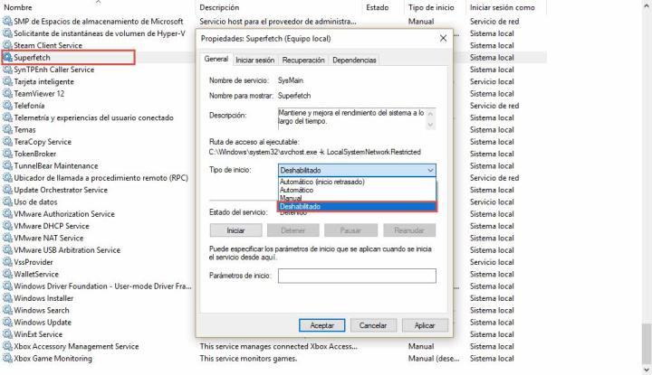 Desactivar Superfetch Windows 10