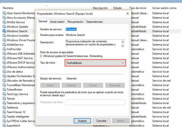 Deshabilitar indexado disco SSD