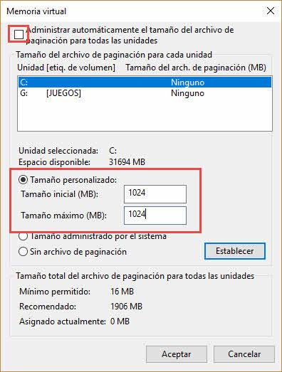 Memoria virtual de 1 GB SSD