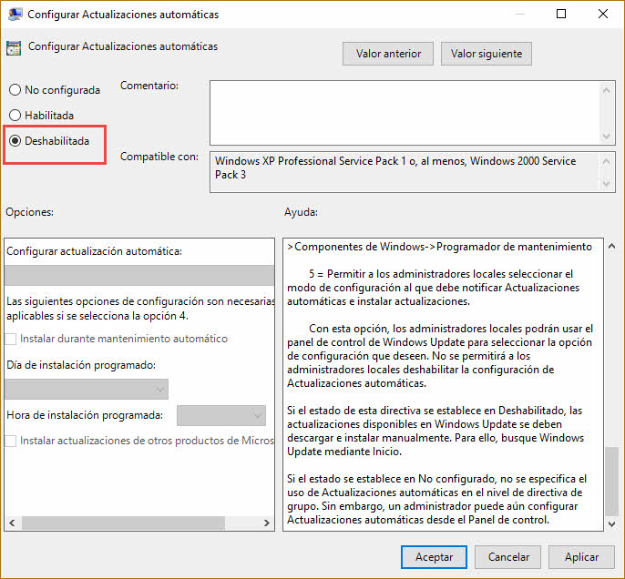 Configurar actualizaciones automáticas Windows 10 2