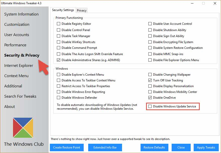 UTW4 deshabilitar Windows Update servicio