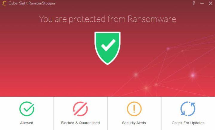 Cybersight ransomstopper menu
