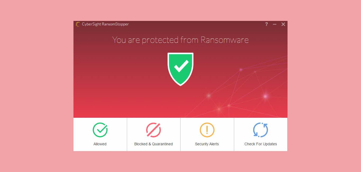 Cybersight ransomstopper menu antiramsomware