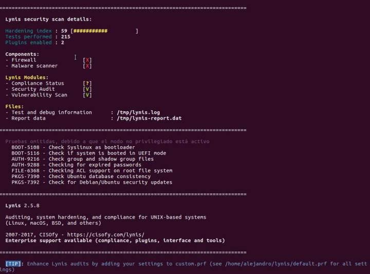 Resumen Lynis analisis de sistema sobre Linux