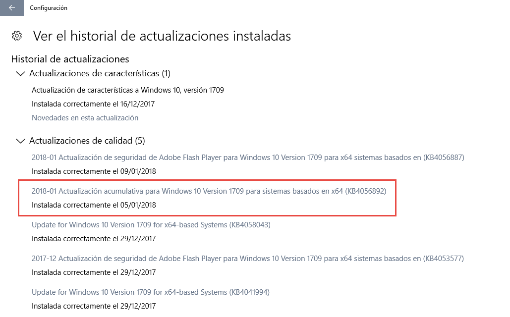 KB4056892 actualización para Windows