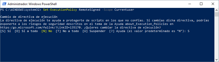 Set-ExecutionPolicy RemoteSigned -Scope Currentuser