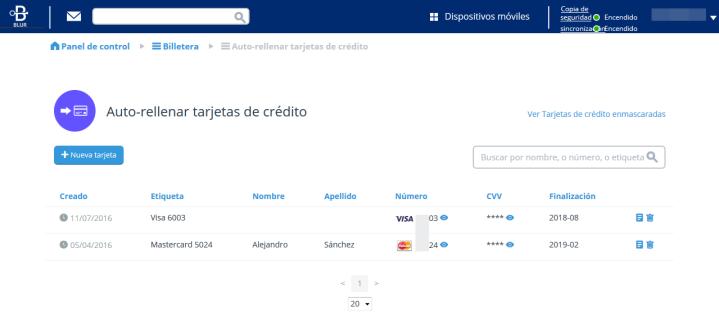 Auto-completar números de tarjeta de crédito