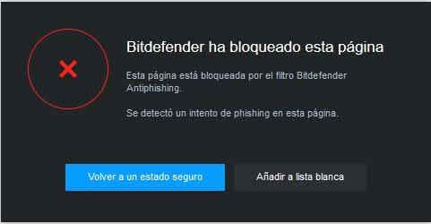 Bloqueo web Bitdefender