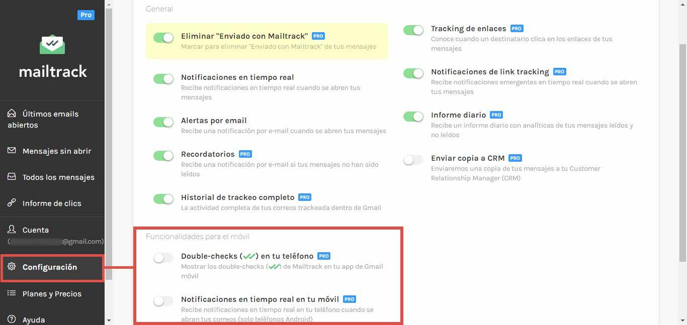 Funciones pro de Mailtrack