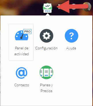 Mailtrack Pro panel de navegador