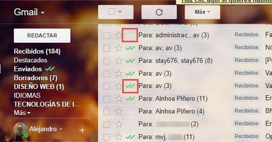 Marcas de verificación en Mailtrack