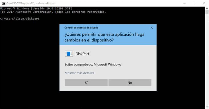 Abrir diskpart Windows