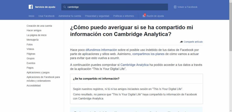 Como saber si estoy afectado por Cambridge Analítica Facebook