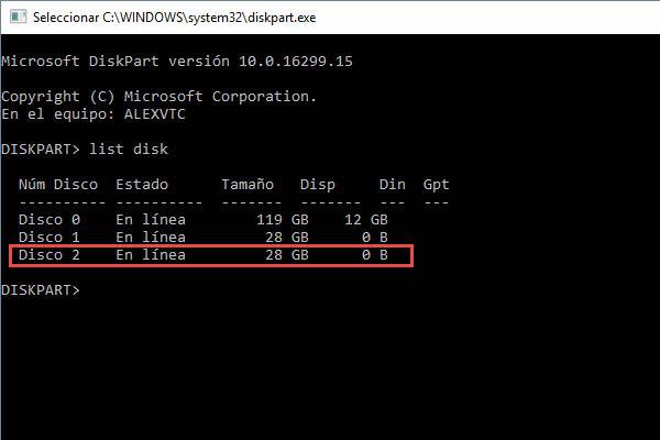 diskpart list disk