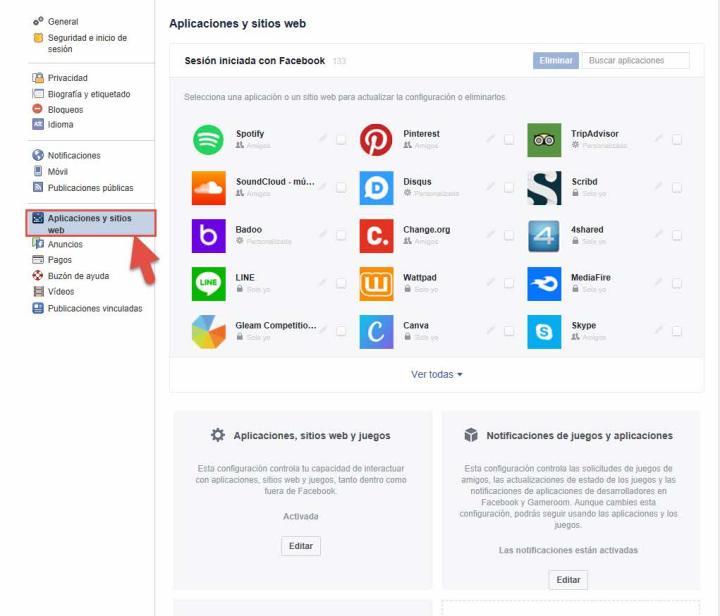 Eliminar aplicaciones Facebook 1