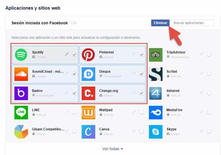 Eliminar aplicaciones Facebook 2