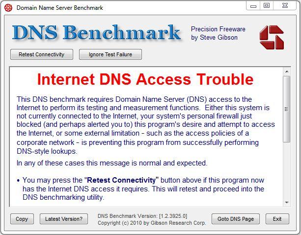 GRC DNSBench fallo en DNS