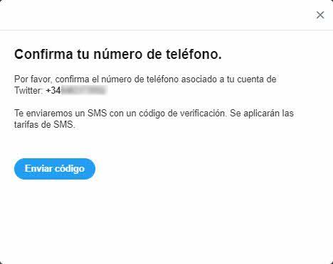 autenticacion en dos pasos Twitter - verificar número de teléfono