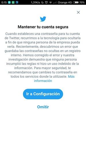 Aviso de seguridad de Twitter