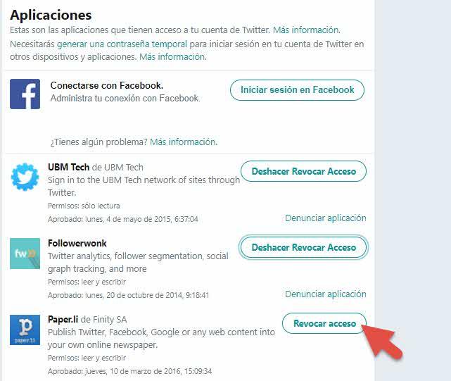Revocar acceso de aplicaciones conectadas a Twitter