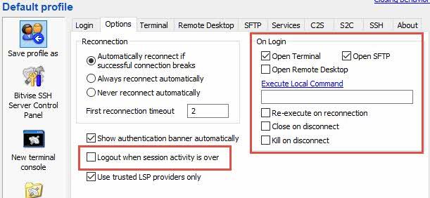 Opciones de configuración Bitvise SSH Client