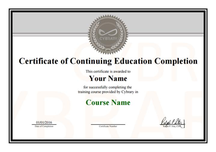 Certificado de cursos Cybrary