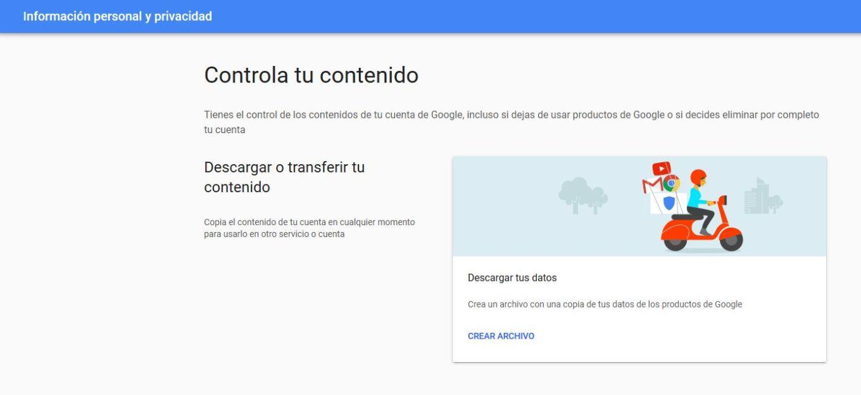 Descargar datos personales de Google
