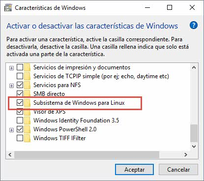 Instalar bash en Windows 10 5