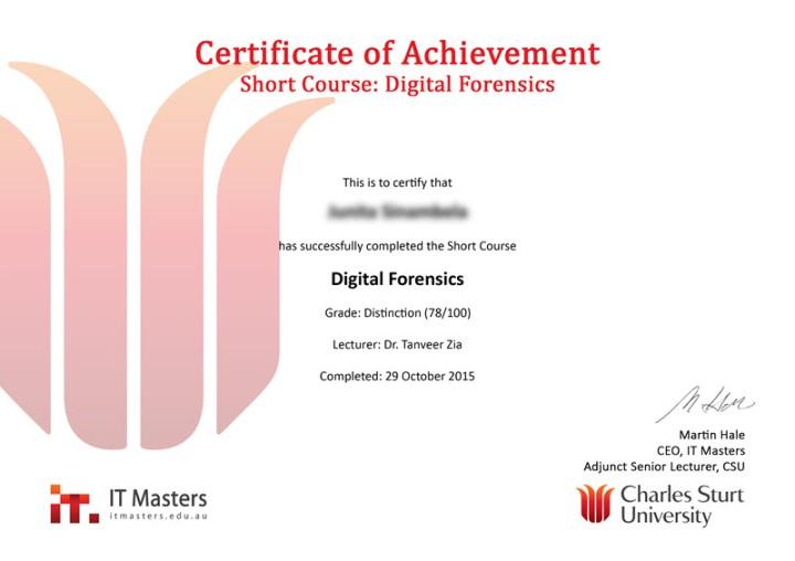 Ejemplo de certificado ofrecido por Itmasters