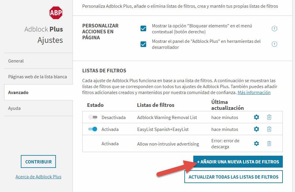 Nueva lista de bloqueo Adblock plus