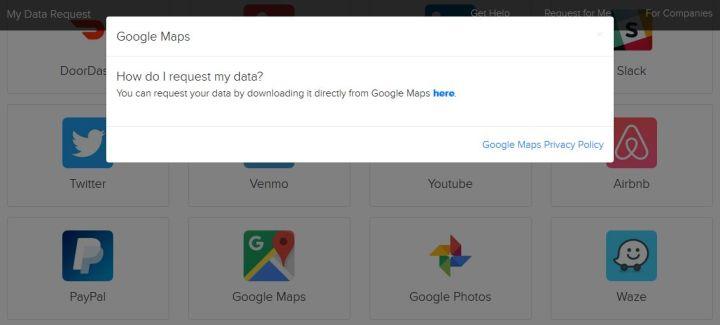 Solicitar datos personales de Google Maps