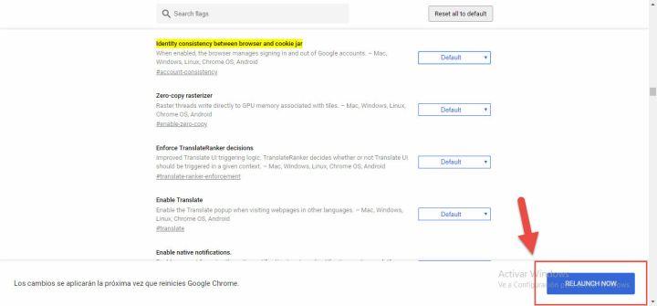 Desactivar Identity consistency Google Chrome