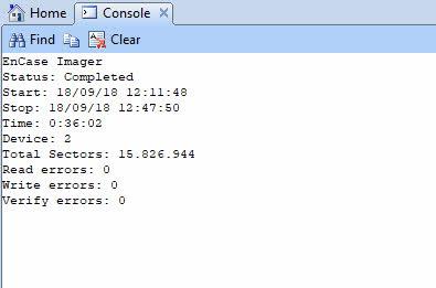 Encase Imager consola 2