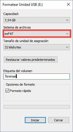 Formatear disco forense 2