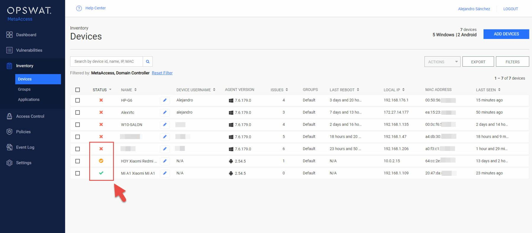 Opswat MetaAccess - Inventario de dispositivos con monitorización habilitada