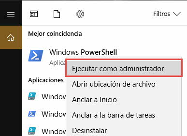 Abrir powershell Windows 10