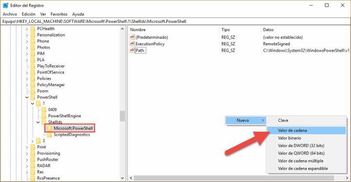 Habilitar scripts en powershell mediante editor del registo