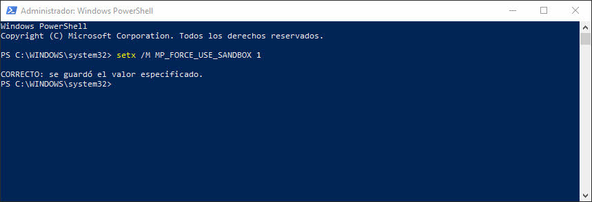 modo sandbox de Windows Defender activar