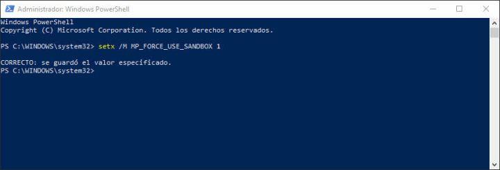 modo sandbox de Windows Defender activar