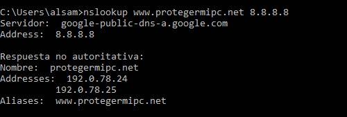 nslookup host servidor 2