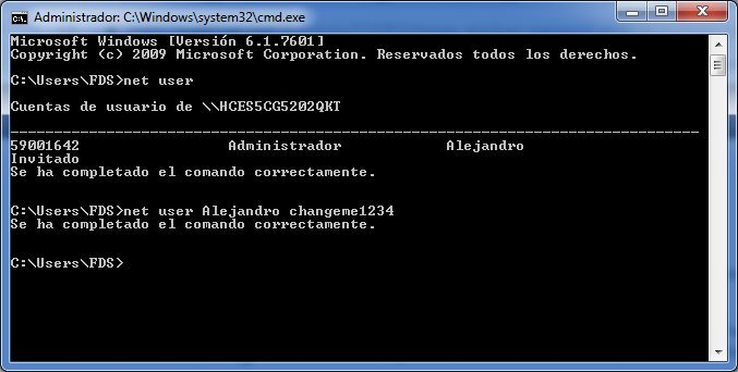 Cambiar contraseña Windows con CMD
