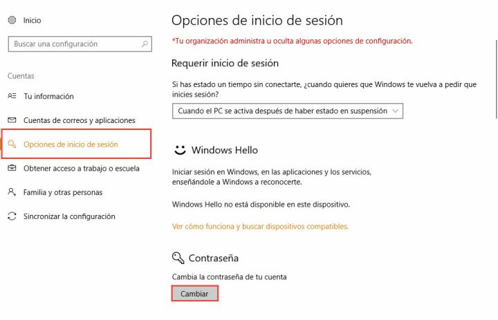 cambiar contraseña de windows 10
