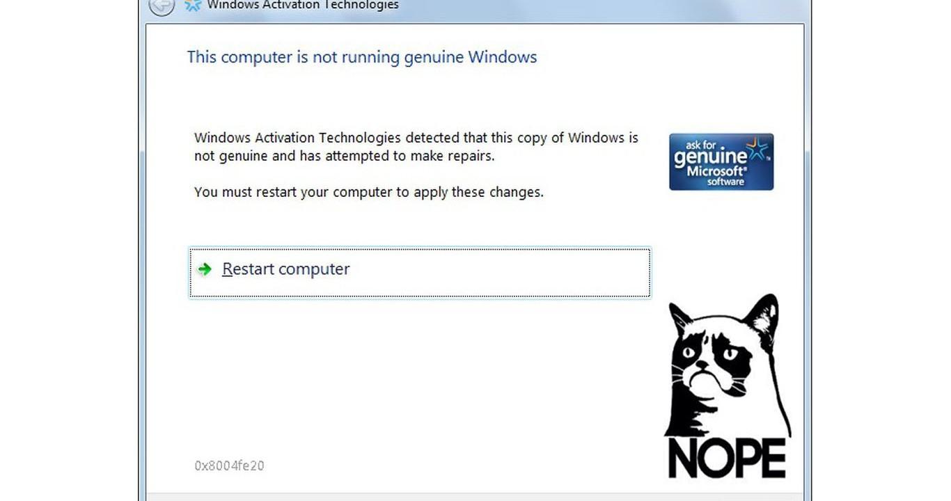 solución al error de windows 7 no es original tras actualización del 8 de enero