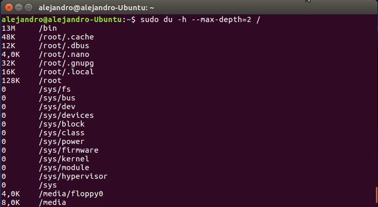 Calcular espacio usado por directorios en Linux